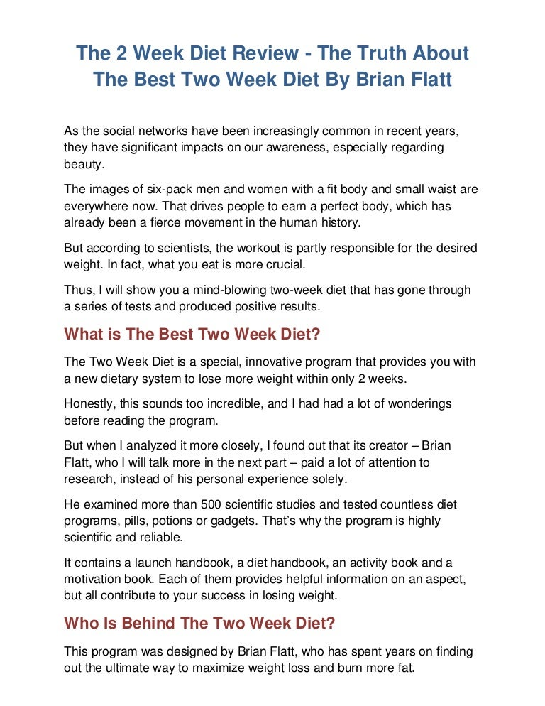The 2 Week Diet Review – Really Work For Weight Loss Or A Scam?