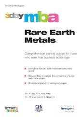 3 Day MBA in Rare Earth Metals - 28-30 May 2014 - Terrapinn Training