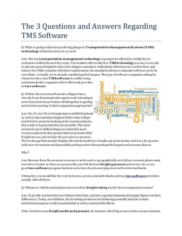 The 3 Questions and Answers Regarding TMS Software