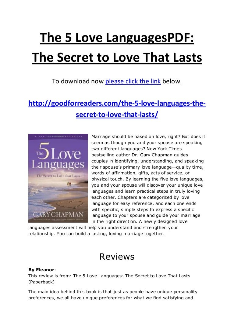 The five love languages for singles pdf