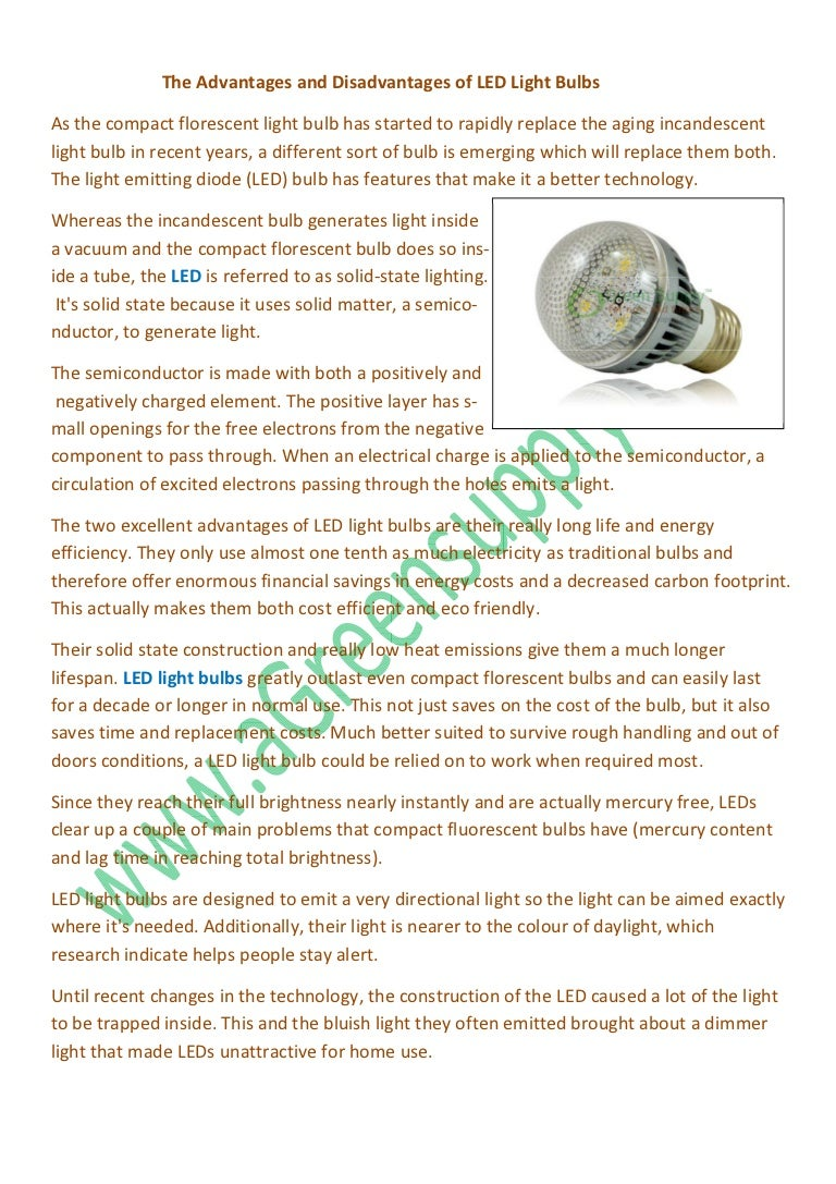 The Advantages And Disadvantages Of LED Light Bulbs