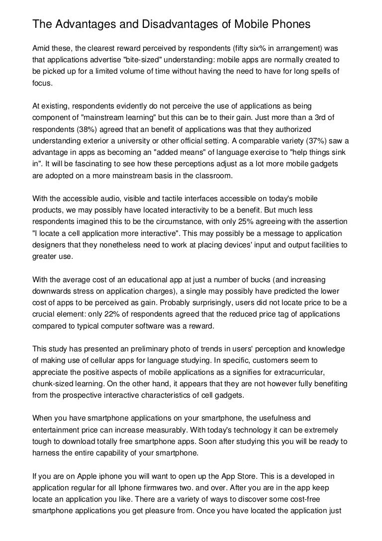 Mobile essay in english pdf