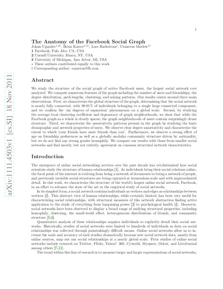 The anatomy of the Facebook social graph