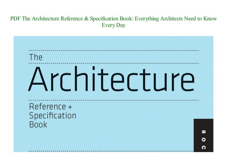 Pdf The Architecture Reference Specification Book Everything Archi