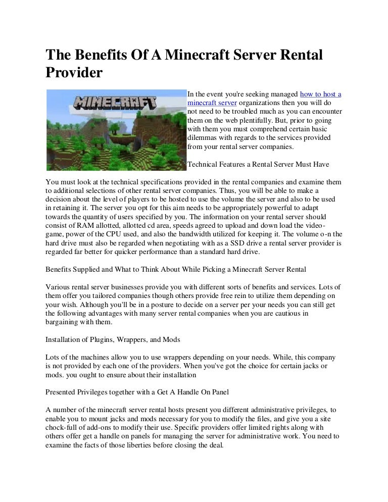 The benefits of a minecraft server rental provider