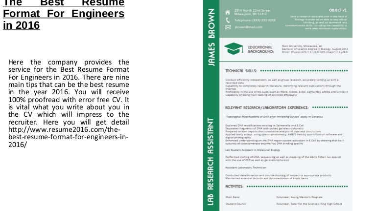 The Best Resume Format For Engineers In 2016