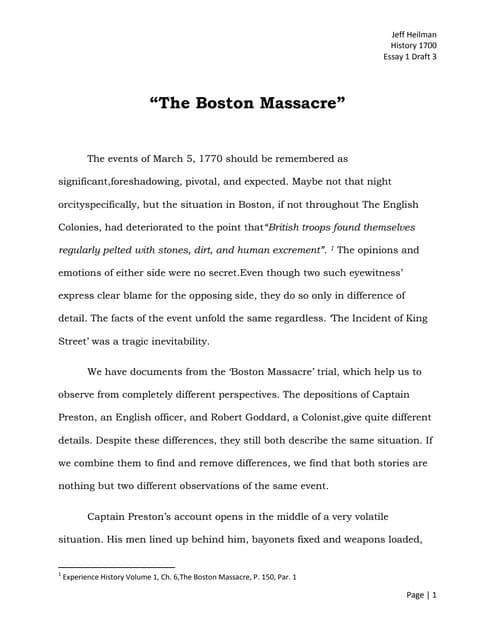 English Literature Essay  Sample Essay Thesis Statement also English As A Global Language Essay The Boston Massacre Essay Draft  Essay In English Literature