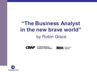 The Business Analyst in the New Brave World by Robin Grace
