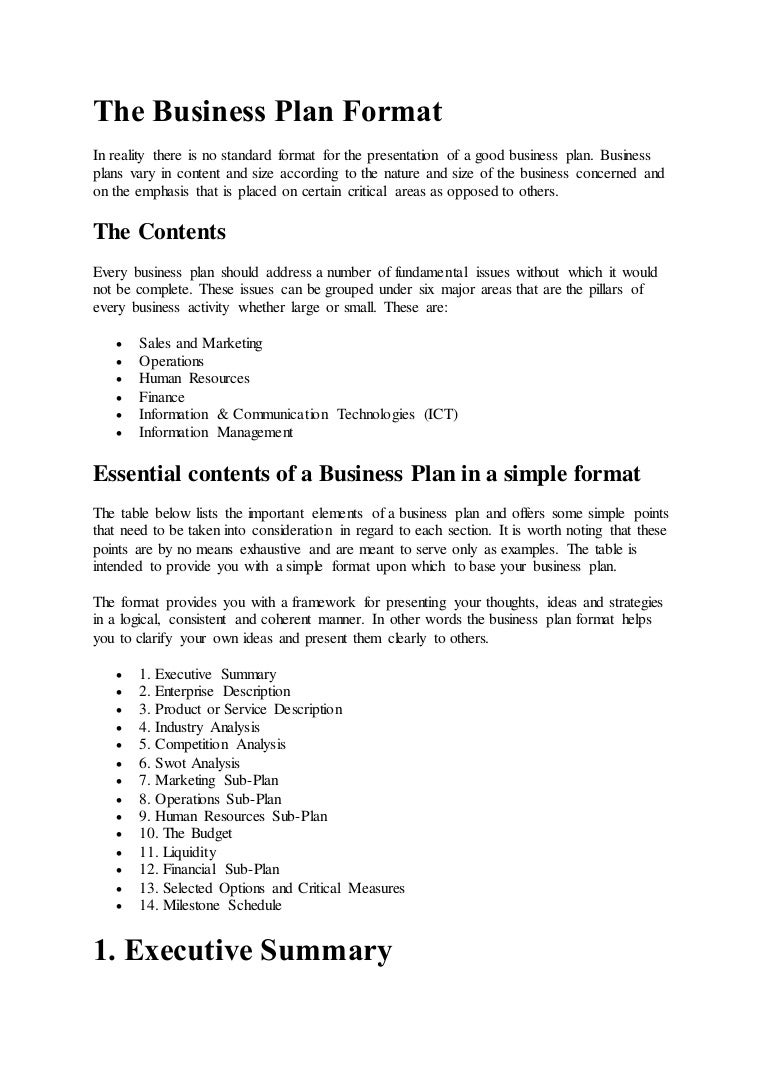The business plan format – Business Plan Format