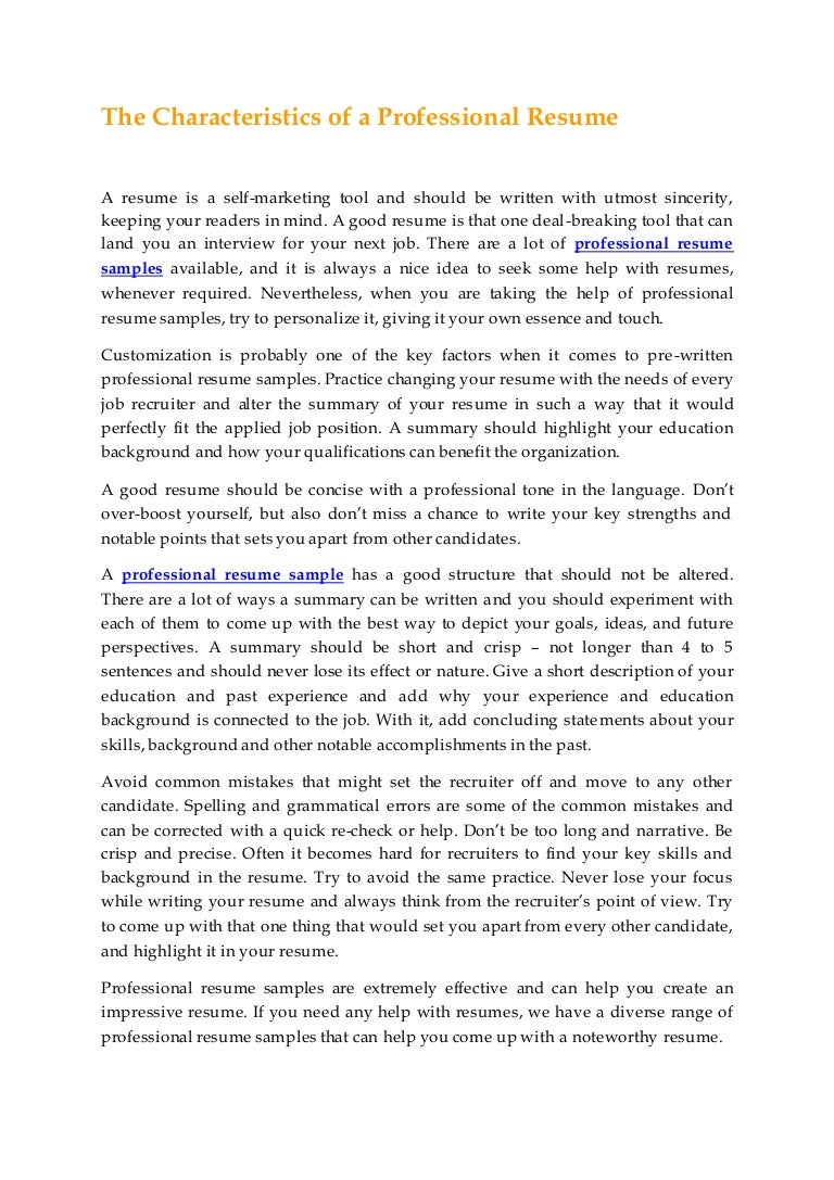 thecharacteristicsofaprofessionalresume 150724193107 lva1 app6891 thumbnail 4jpgcb1437766348