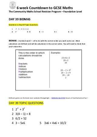 The community maths school revision program foundation day 39