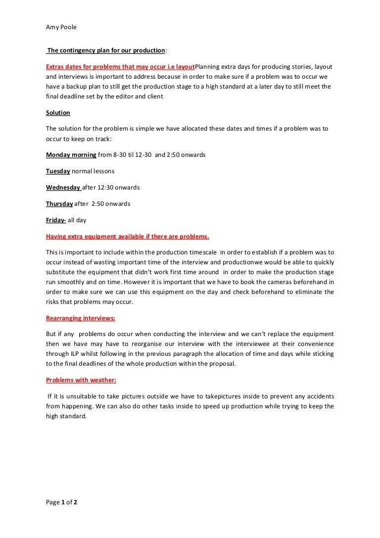 the contingency plan for our production. Resume Example. Resume CV Cover Letter