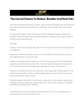 The Correct Posture To Reduce Shoulder And Neck Pain
