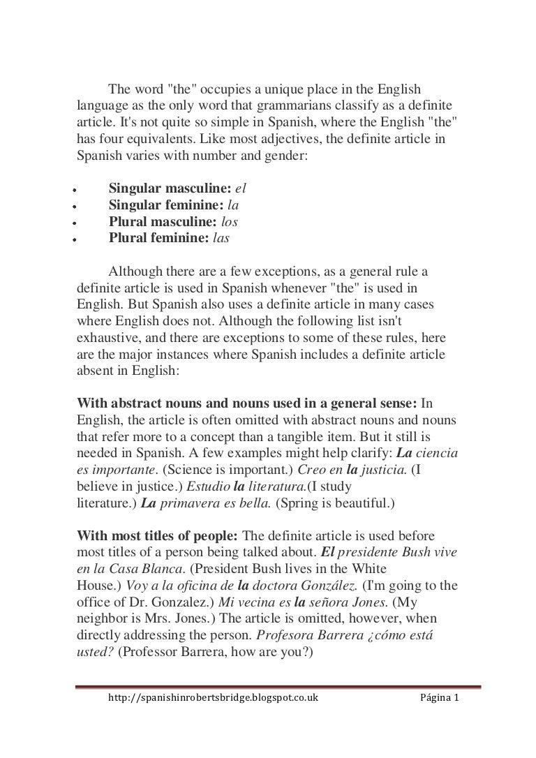 the definite article.el articulo definido. reglas generales