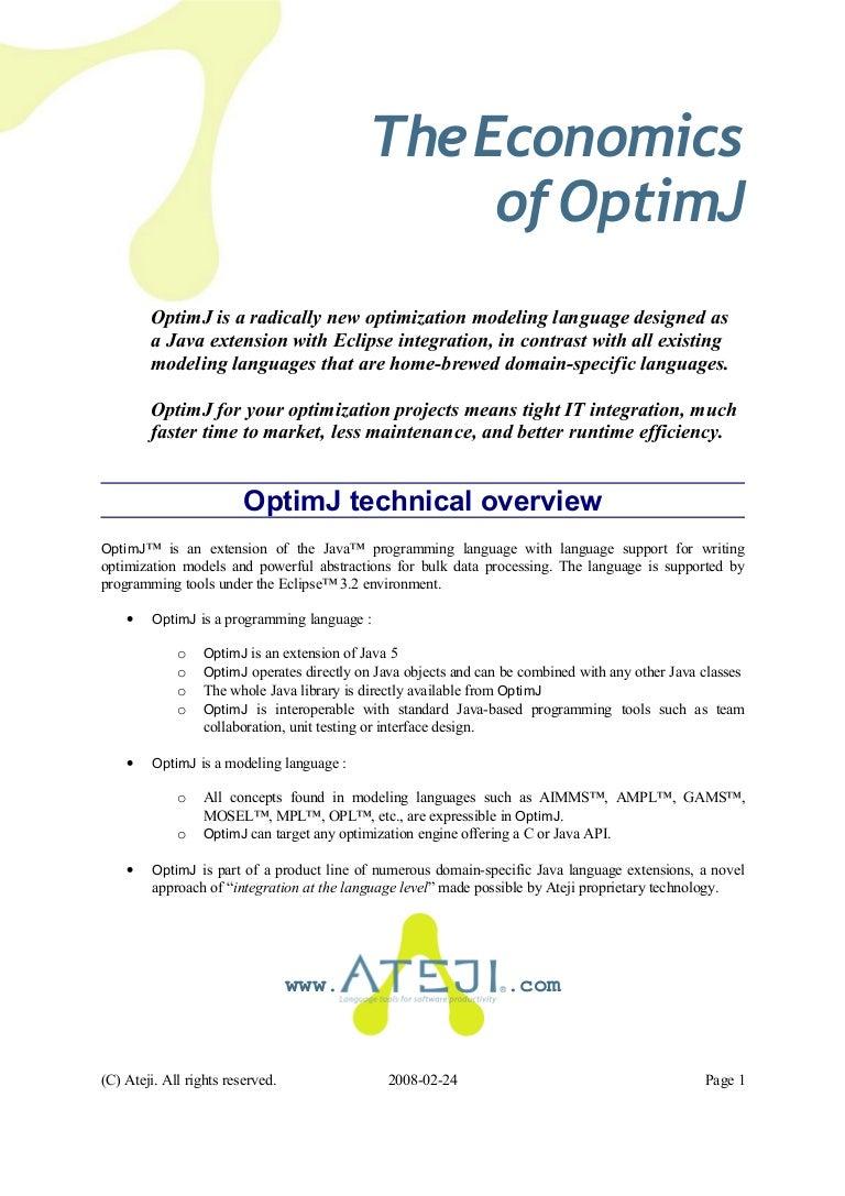 The Economics of OptimJ