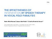 The effectiveness of intervention by speech therapy in vocal fold paralysis