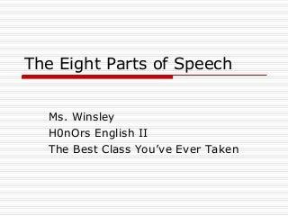 8 Parts of Speech PowerPoint