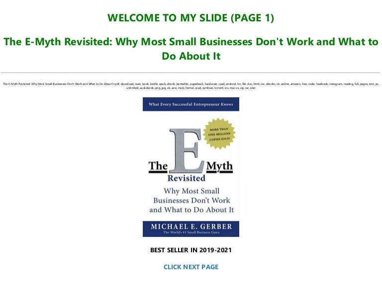 Free Read [PDF] Books The E-Myth Revisited: Why Most Small Businesses Don't Work and What to Do About It TXT,PDF,EPUB