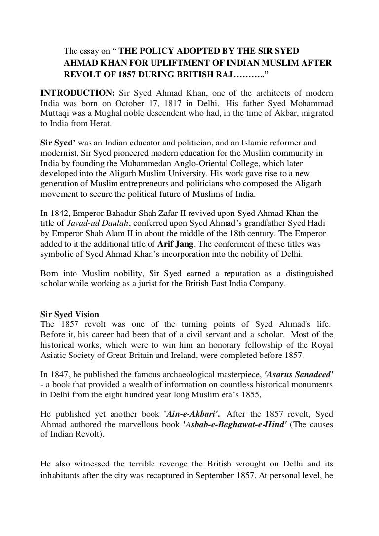The Essay On Sir Syed Ahmad Khan