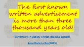 The first known written advertisement is more than three thousand years old!