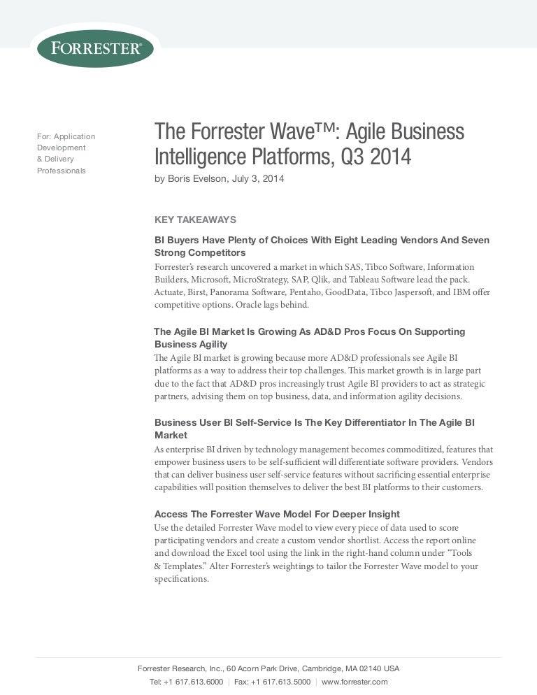 the forrester wave agile business intelligence platforms q3 2014