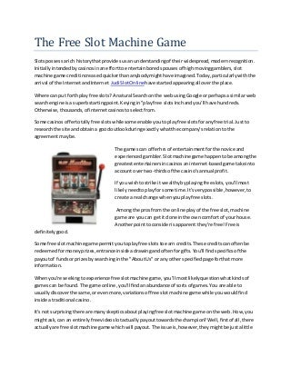 The Free Slot Machine Game