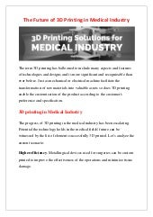 The Future of 3D Printing in Medical Industry