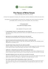 The Future of Wine Forum: How sustainability will transform the industry