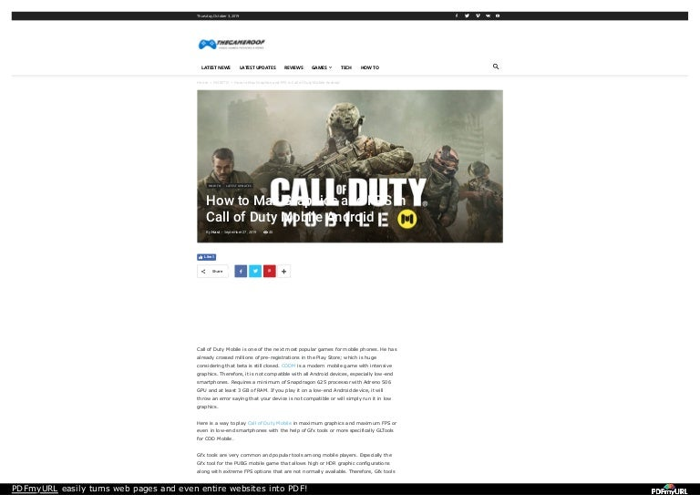 How To Max Graphics And Fps In Call Of Duty Mobile Android