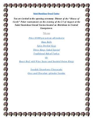 The grand casino invitation with a menu