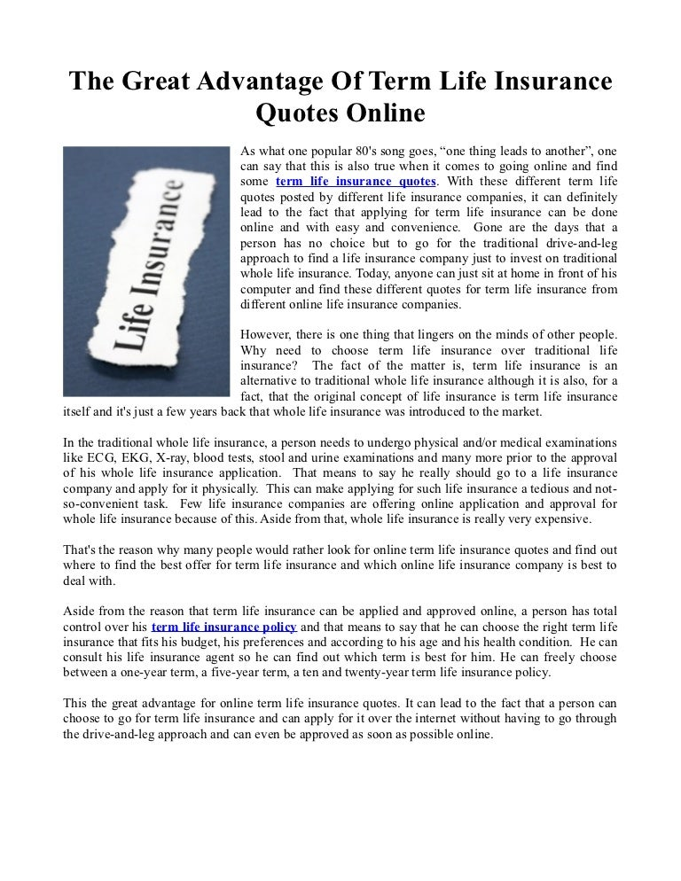 The Great Advantage Of Term Life Insurance Quotes Online Best Online Term Life Insurance Quotes