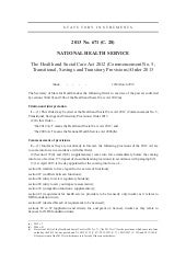 The health and social care act 2012 (commencement no. 5, transitional, savings and transitory provisions) order 2013