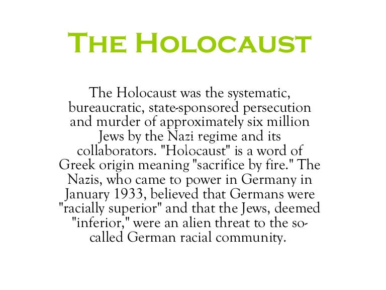Reasons for the holocaust essay