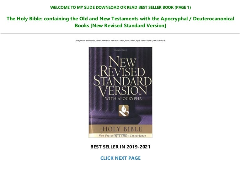 Free Download In <PDF The Holy Bible: containing the Old and New Testaments with the Apocryphal / Deuterocanonical Books [New Revised Standard Version] Read >book $ePub