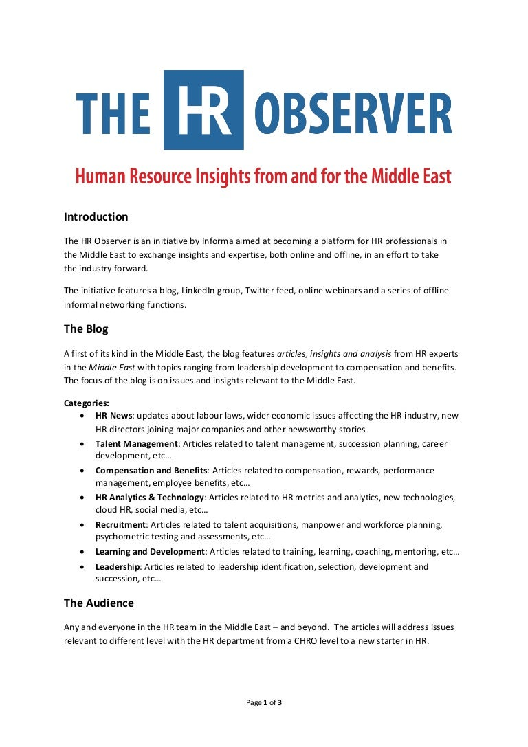 the hr observer contribution guidelines