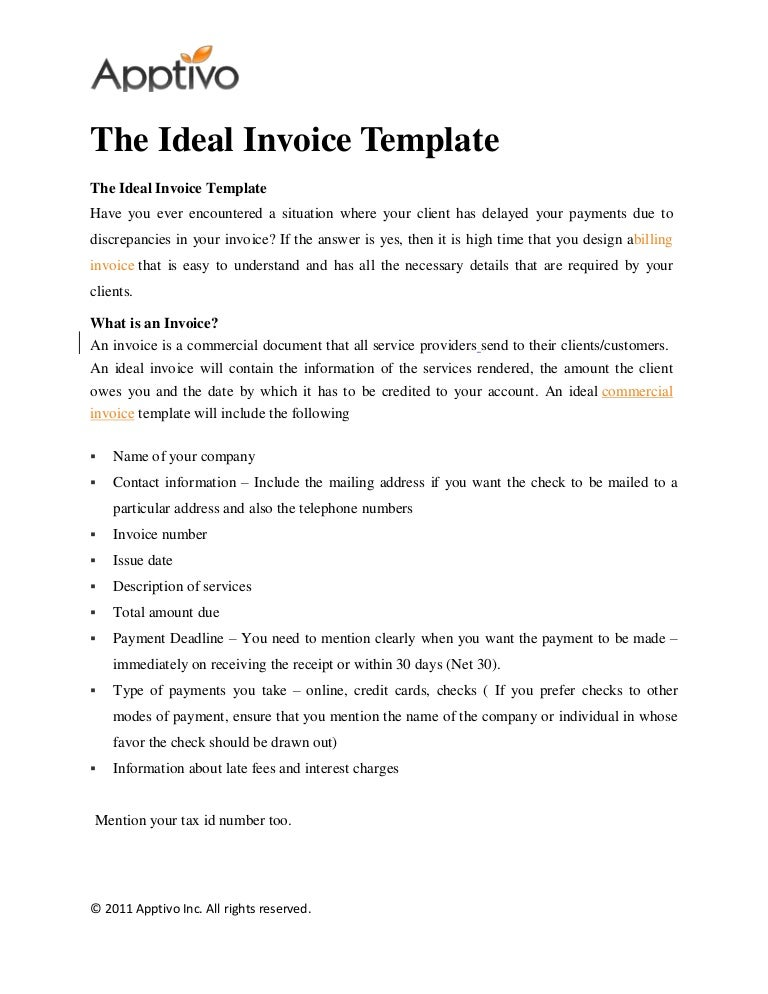 the ideal invoice template
