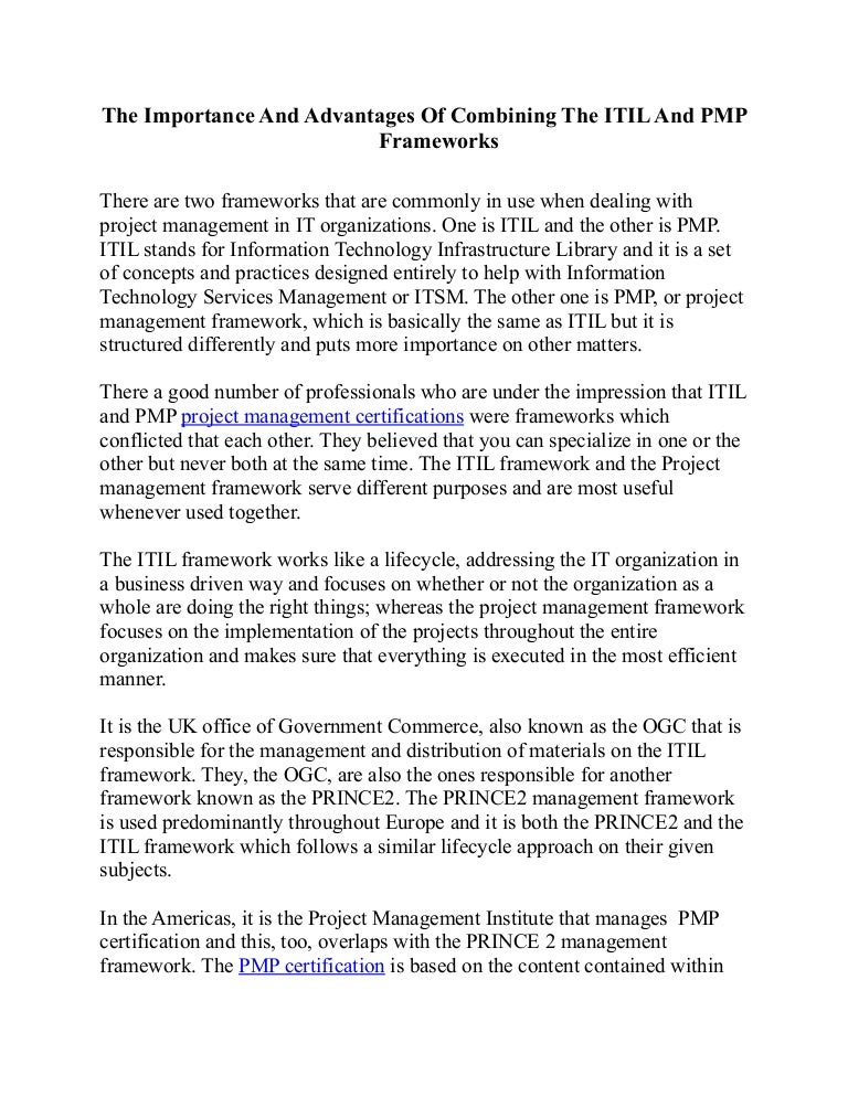 The Importance And Advantages Of Combining The Itil And Pmp