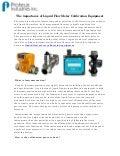 The importance of Liquid Flow Meter Calibration Equipment
