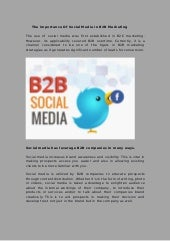 The importance of social media in b2b marketing