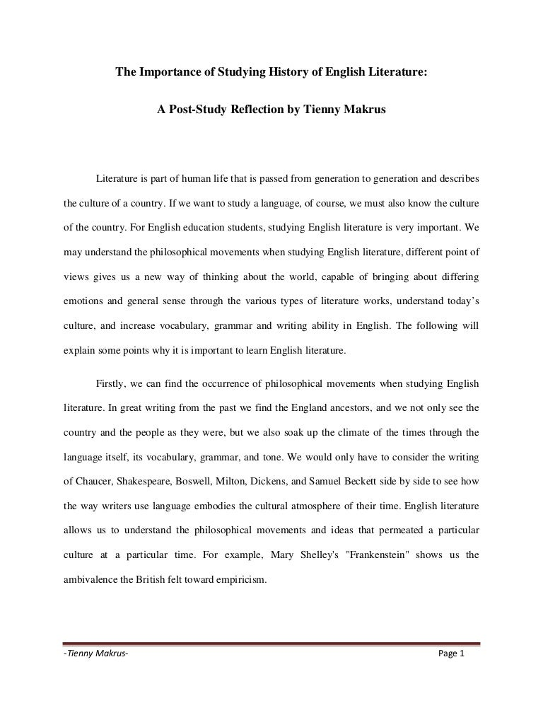 High School Essays  Example Of An Essay With A Thesis Statement also Reflective Essay On English Class The Importance Of Studying History Of English Literature College Essay Paper Format