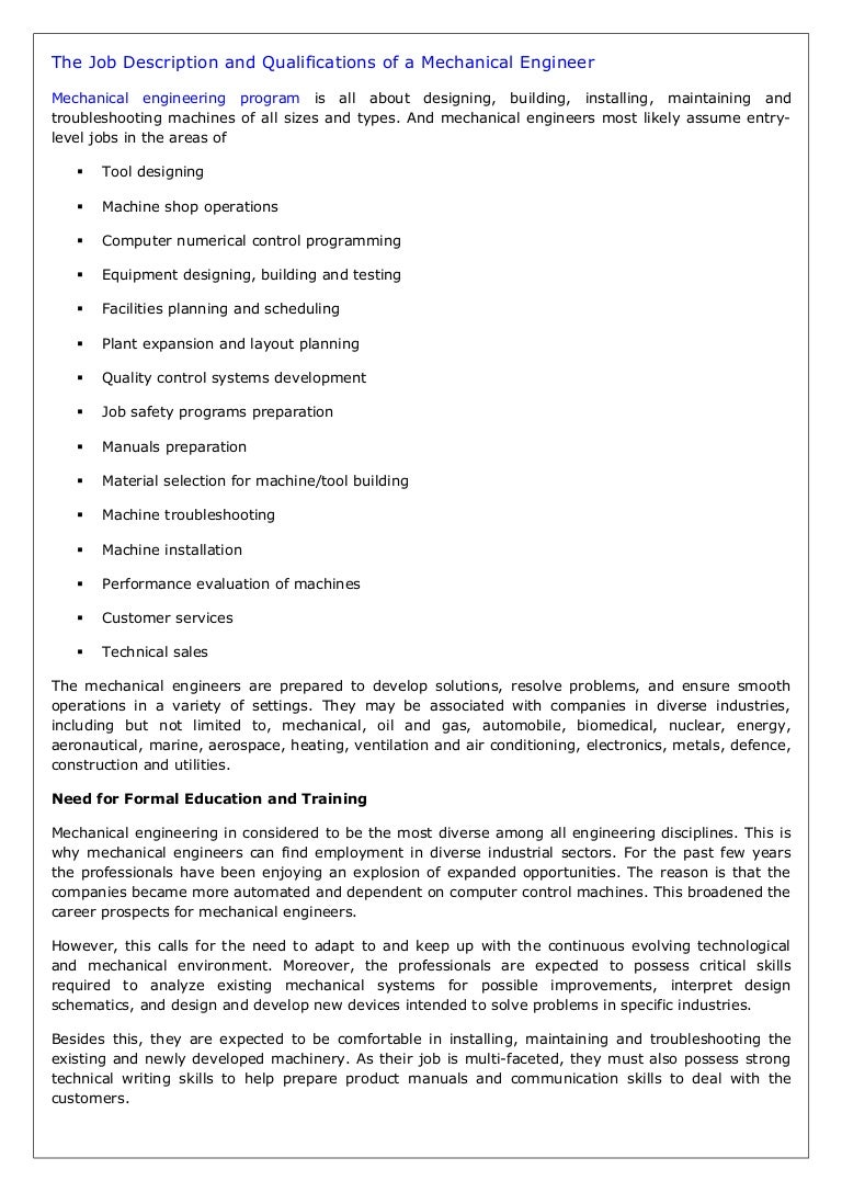 The job description and qualifications of a mechanical engineer