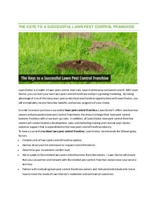 The keys to a successful lawn pest control franchise