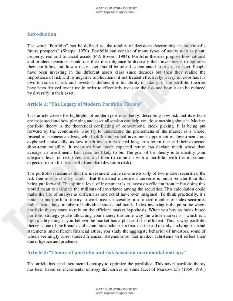 The Legacy Of Modern Portfolio Theory Academic Essay Assignment  W