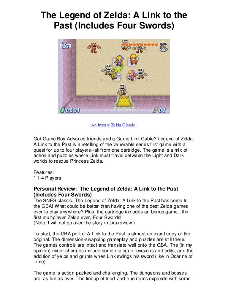 The legend of zelda a link to the past includes four swords