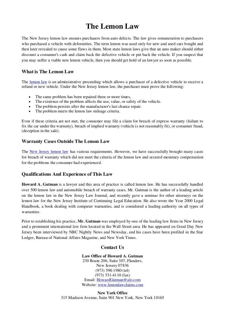Lemon Law Nj >> The Lemon Law
