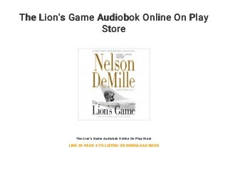 The Lion's Game Audiobok Online On Play Store