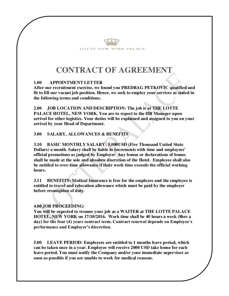 Job Agreement Contract. Employment Agreement Contract Sample - 9+