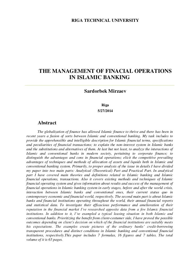 the management of finacial operations in islamic banking