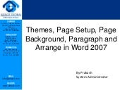 Themes, page setup, page background, paragraph and arrange in word 2007