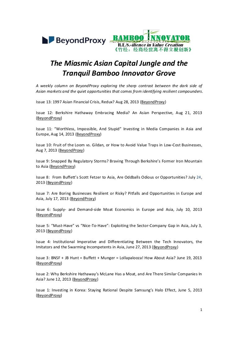 The Miasmic Asian Capital Jungle and the Tranquil Bamboo Innovator Gr…
